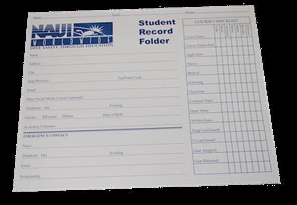 NAUI Student Record Folder
