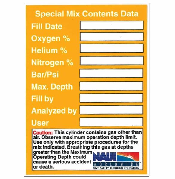 Custom Mix Cylinder Contents Decal