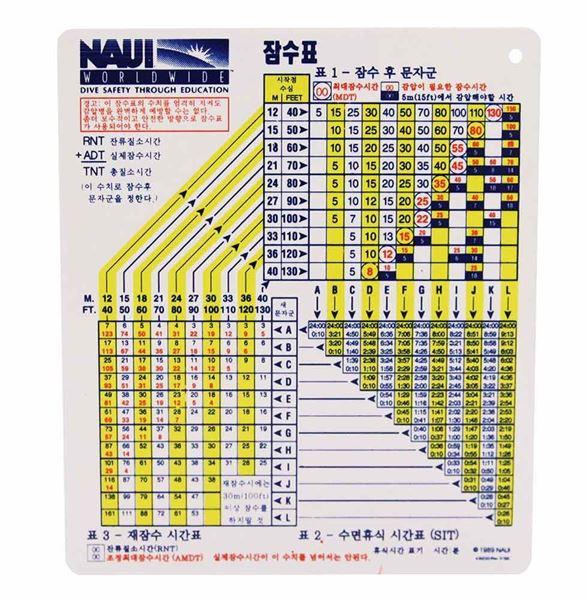 NAUI Air Dive Table - Plastic (Korean)