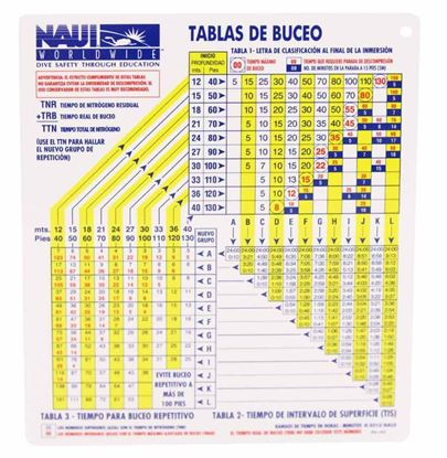 NAUI Air Dive Table - Plastic (Spanish)