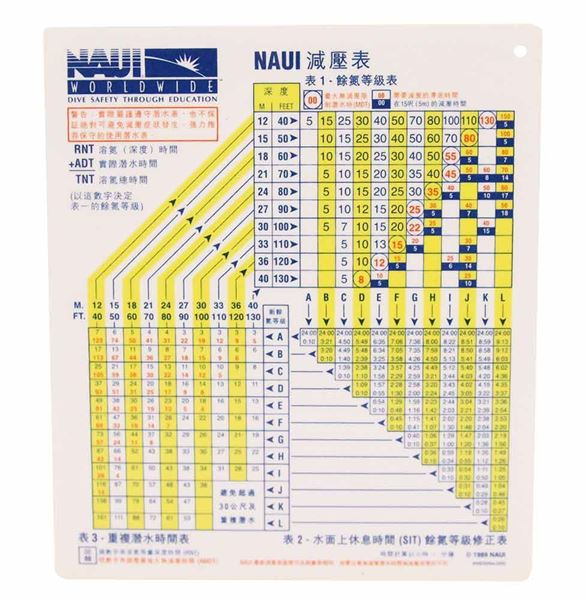 NAUI Air Dive Table - Plastic (Traditional Chinese)