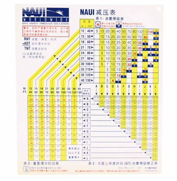 NAUI Air Dive Table - Plastic (Simplified Chinese)