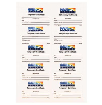 Temporary Certification Cards (10 per pkg)