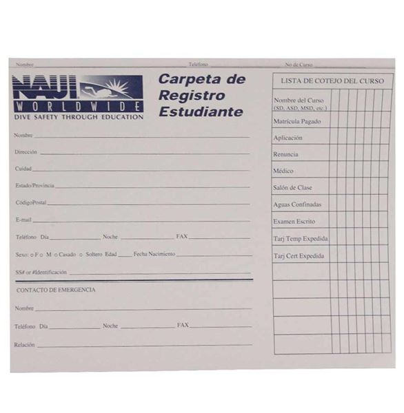 NAUI Student Record Folder - Spanish