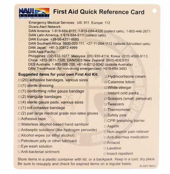 First Aid Quick Reference Card