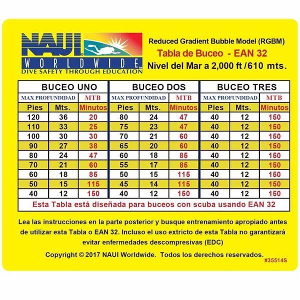 Picture of Dive Table, RGBM EANx-32 0-2M Ft (Spanish)