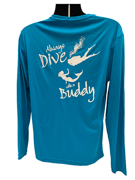 Picture of NAUI FISHING SHIRT-ALWAYS DIVE WITH A BUDDY - BLUE